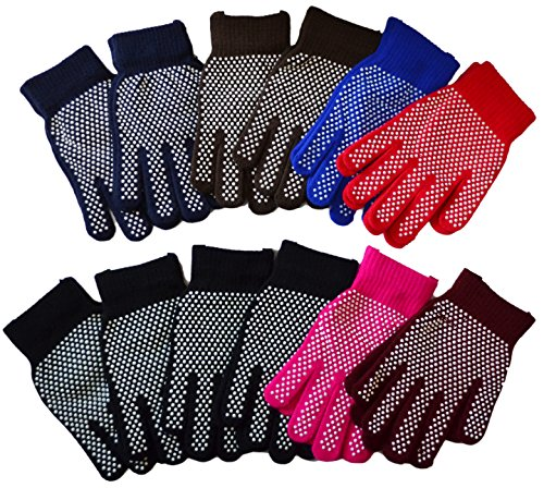 OPT Brand. 12 Pairs Wholesale Magic Knit Gripper NON-SLIP GRABBER PALMS Gloves Sports Work. USA Trademark Registered Code: 86522969. (1 Magic Gloves)