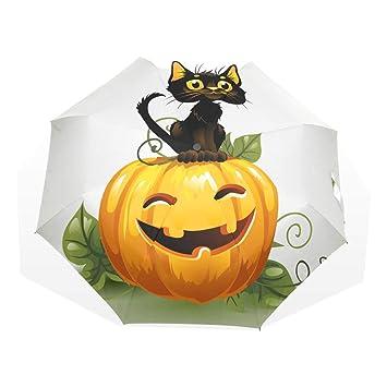 EZIOLY - Paraguas de Viaje para Gato en Halloween, diseño de Calabaza, Ligero,