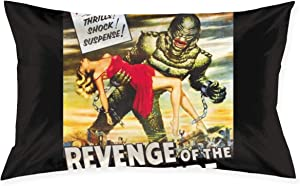 Yuteea Pillowcase Revenge of The Creature Movie Poster Pillow Cover Standard Queen Size 20x30 Inch with Hidden Zipper for Home Bed Room Decorative Throw Pillow Case