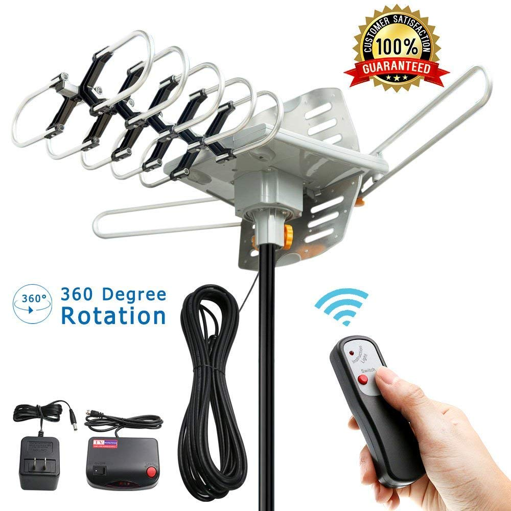 [Vansky] [テレビアンテナ - Outdoor Digital HDTV Antenna 150 Mile Motorized 360 Degree Rotation, OTA Amplified HD TV Antenna for 2 TVs Support - UHF/VHF/1080P Channels Wireless Remote Control - 32.8ft Coax Cable] (並行輸入品)   B07GMDY3TK