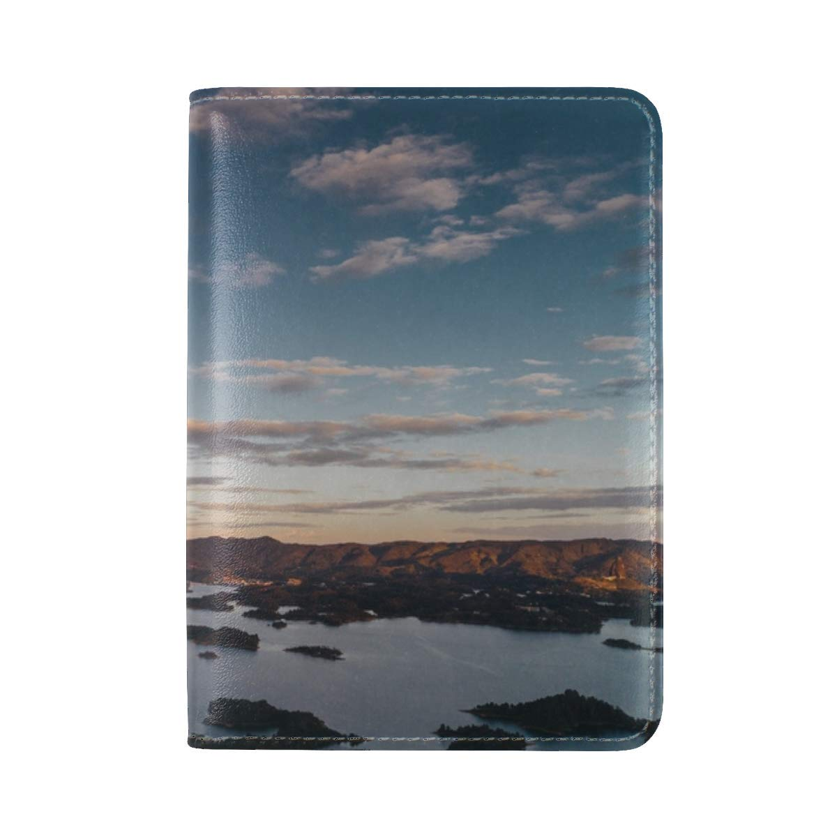Mountains Islands Coast Leather Passport Holder Cover Case Travel One Pocket