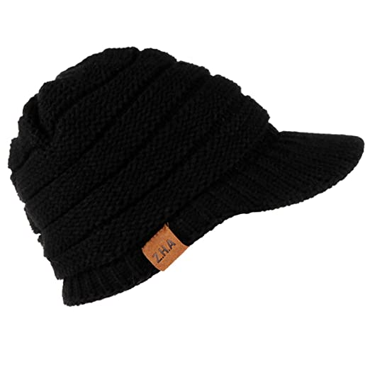 b8c9ea3b55c11 Winter Warm Knit Thicken Hat Wool Snow Ski Caps with Visor 2019 Female  Ponytail Caps