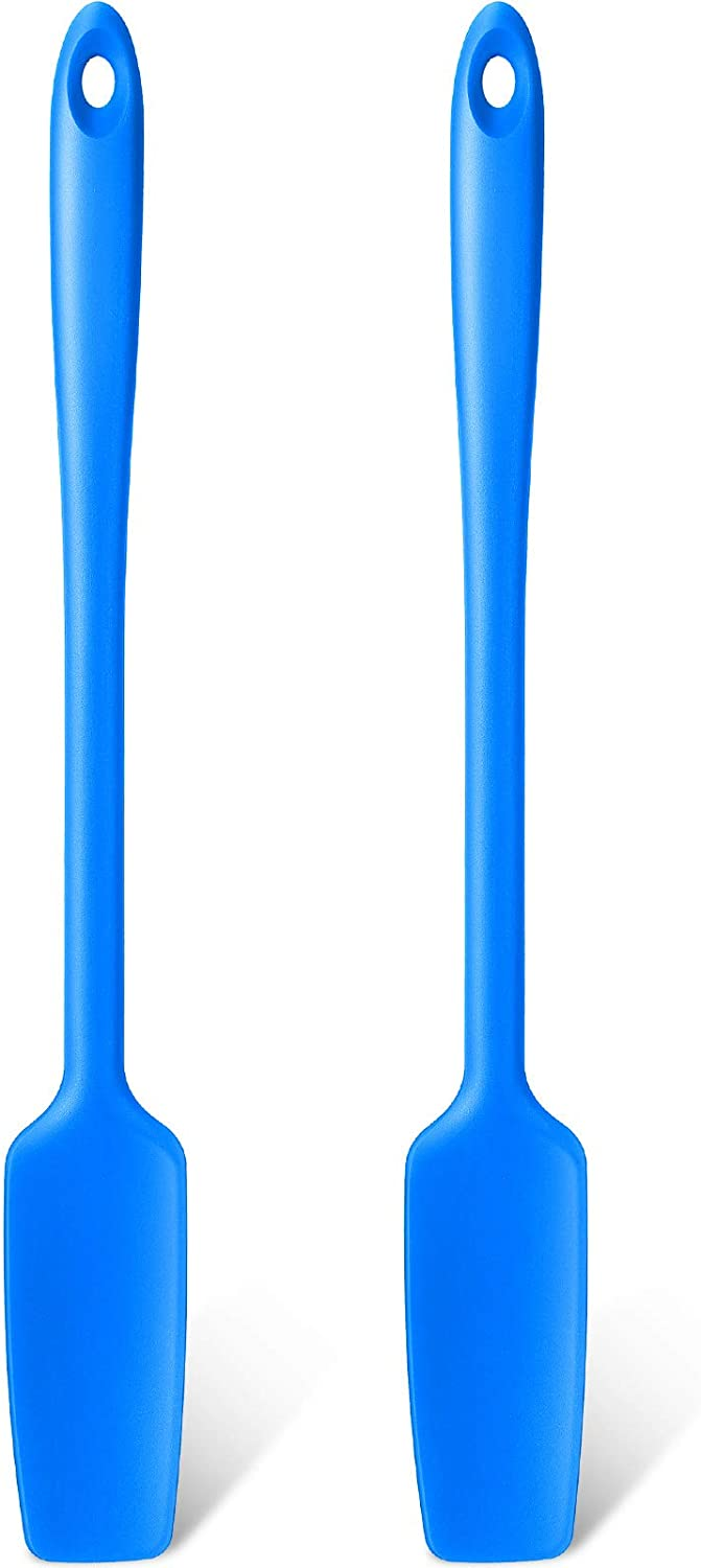 Long Handle Silicone Jar Spatula Kitchen Scraper Spatula Non-Stick Rubber Scraper Silicone Scraper for Jars, Smoothies, Blenders Cooking Baking Stirring Mixing (Blue,2 Pieces)