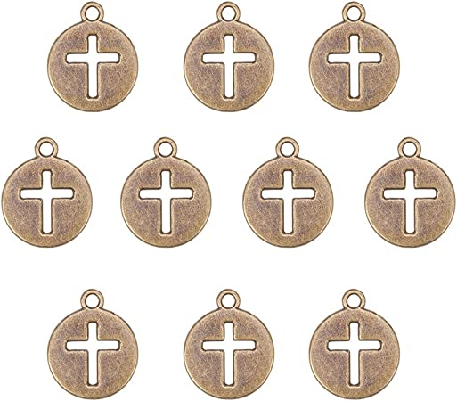 Artibetter 50PC Natural Unfinished madera cruz colgantes perlas 2.3x1.6 cm para proyectos de joyer/ía de artesan/ía DIY