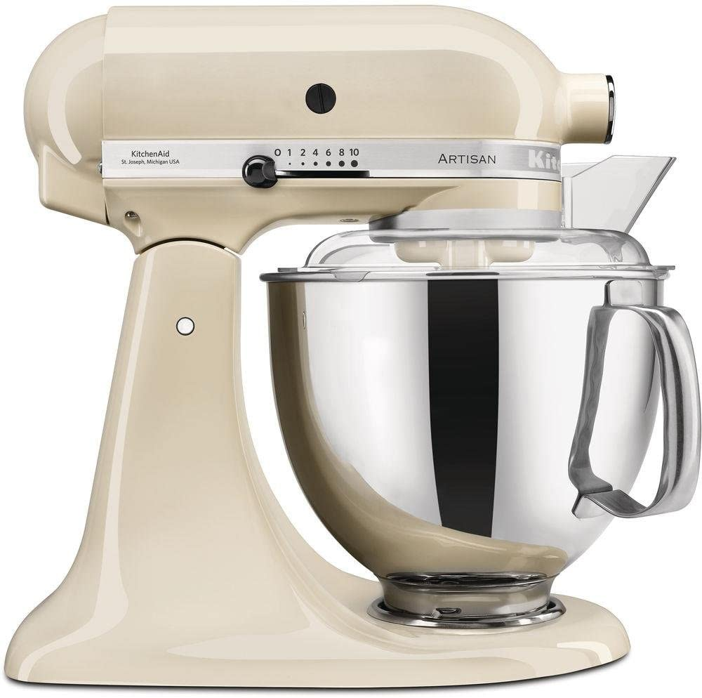 KitchenAid Artisan - Robot de cocina (4,8 L, Crema de color, palanca, 220 RPM, 1,45 m, Acero inoxidable)