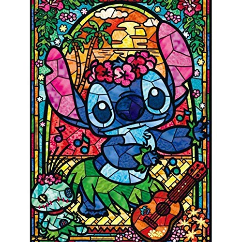 DIY 5D Diamond Painting by Number Kits, Lilo and Stitch Crystal Rhinestone Diamond Embroidery Paintings Pictures Arts Craft for Home Wall Decor