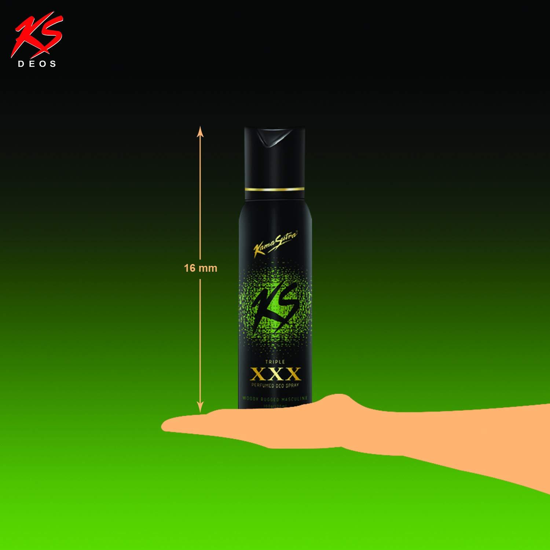KamaSutra Triple XXX Perfumed Deodorant Spray for Men    Woody-Rugged-Masculine Fragrance   Long Lasting freshness   Perfume for Gym  & Party