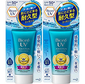 2017ver. Biore Sarasara UV Aqua Rich Watery Essence Sunscreen SPF50+ PA++++ 50g (Pack of 2) KAO