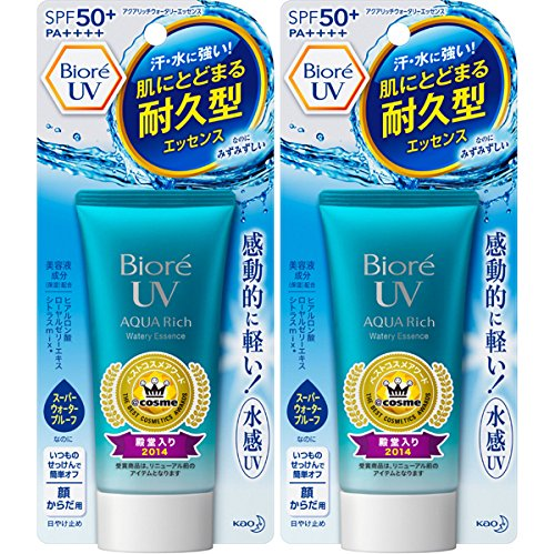 Biore Sarasara UV Aqua Rich Watery Essence Sunscreen SPF50+ PA+++ 50g (Pack of 2) , Latest Package, Won 2014 Best Cosmetic Award in Japan by Bioré (Image #4)
