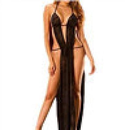 Yesmile 💋💝 Ropa de Interior de Bañera Babydoll Sexy Vestido Largo Sin Espalda G-String Ropa de Dormir Pijama Body Traje de Dormir Lenceria (Negro, ...