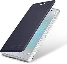 StilGut Book Type Berlin, Housse Sony Xperia XZ2 Compact en cuir de qualité et en TPU avec porte-cartes. Étui flip-case de protection à ouverture latérale avec blockage RFID (RFID/NFC blocker), bleu foncé/transparent