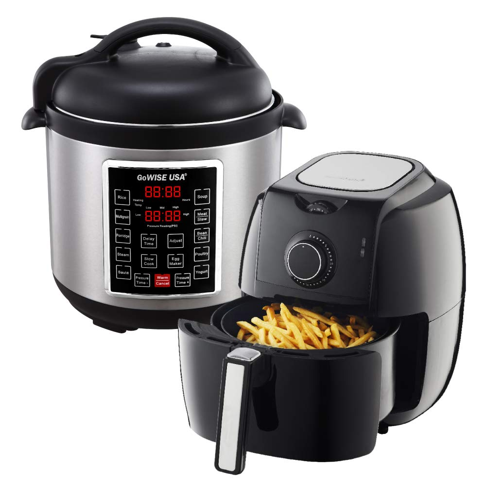 GoWISE USA 3.7-Quart Dial Control Air Fryer (Black, GW22922) + Recipe Book AND GoWISE USA 6-Quart 10-in-1 Electric Pressure Cooker (Stainless Steel, GW22620) + Recipe Book