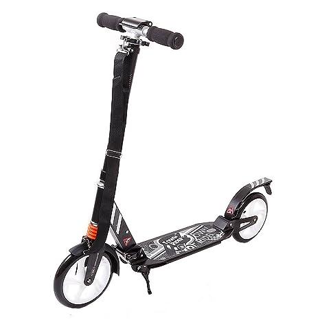 FunTomia Kick Scooter aluminio City Roller Patinete grandes Big Wheel Ruedas de 205 mm con cojinete ABEC-11