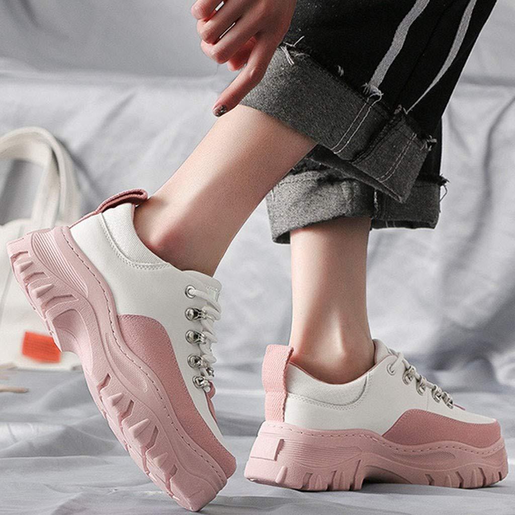 Lenfesh Caucho Mujeres Moda Mix Color Transpirable Ligero Antideslizante Bottm Grueso Zapatos Corrientes Ocasionales Zapatillas de Deporte