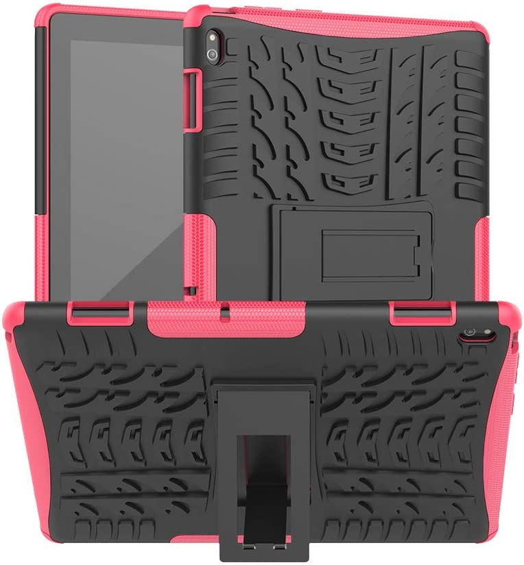 DWaybox Heavy Duty Case for Lenovo Tab E10 TB-X104F Hybrid Armor Rugged Shockproof Combo Dual Layer Hard Protective Cover with Kickstand -Hot Pink