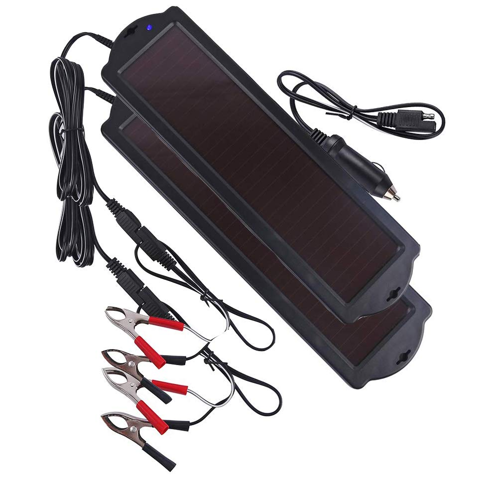 Betop-camp Solar-Powered Car Battery Charger Bundle (2 Pairs) with Cigarette Lighter Plug and Battery Charging Clip Line Suitable for Cars, Caravans and Boats (1.5 Watt), Black