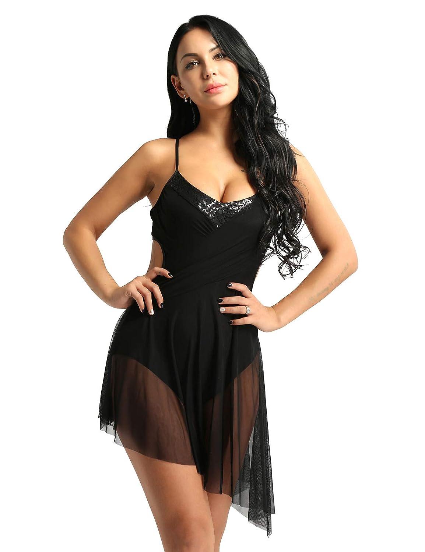 iiniim Women Adult Sequins Spaghetti Straps Cross Back High-Low Tulle Mesh Dance Leotard Dress