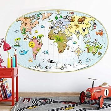 Kl Wall Art Wandtattoo Michel Agullo Kinder Weltkarte Ma10201