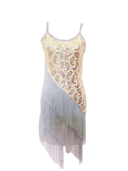 Roaring 20s Costumes- Flapper Costumes, Gangster Costumes Whitewed 1920 Paisley Art Deco Sequin Tassel Bead Flapper Dance Dresses Costumes $30.99 AT vintagedancer.com
