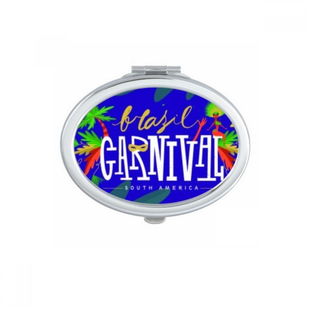 Hula Mask South America Brazil Carnival Element Oval Compact Makeup Pocket Mirror Portable Cute Small Hand Mirrors Gift