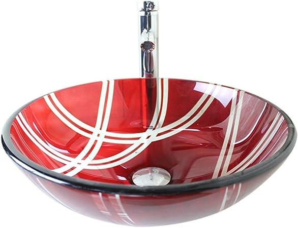 Lavabo-vasque en verre tremp/é rouge avec vasque en chrome et lavabo rond