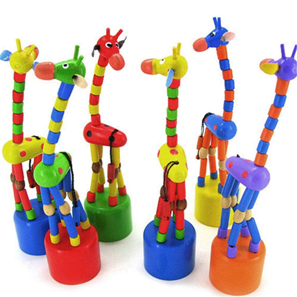 EUNOMIA Baby Kids Wooden Colorful Standing Rocking Dancing Giraffe Gift Intellectual Toy