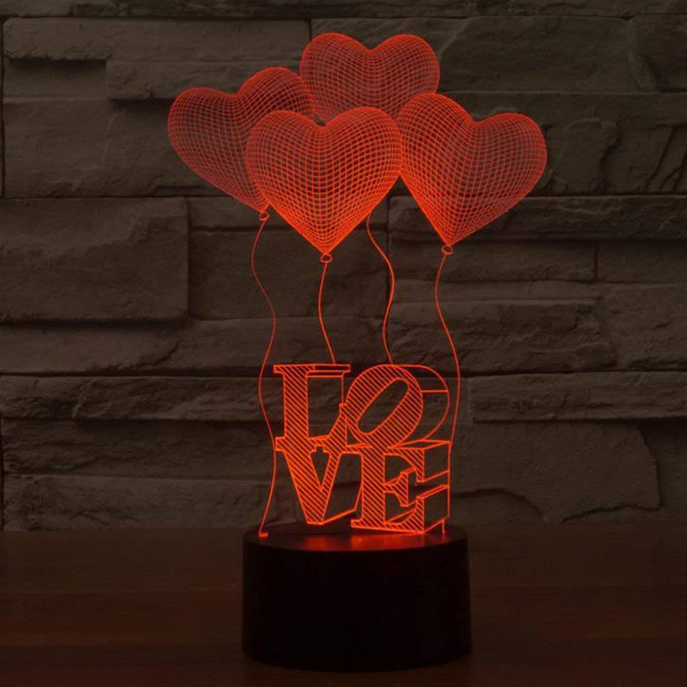 Four Love Heart LEDMOMO 3D Optical Illusion LED Lamp Love Model Night Light LED Desk Table Lamp 7 Color Change