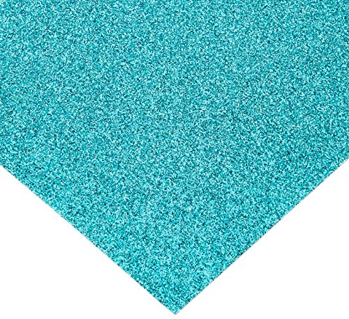 American Crafts Glitter Cardstock, 12 by 12-Inch, Aqua (15 sheets per pack) ()