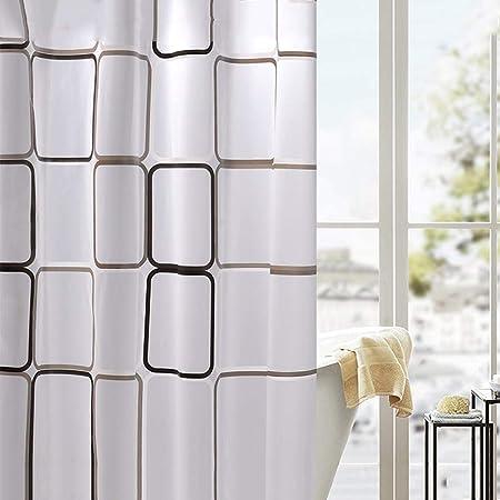 Cortina de baño Cortina suspendida PEVA Transmisión de luz Tela Impermeable de cordón de Moho Cortinas de baño Cortinas de baño Cortinas para mamparas de Ducha Engrosamiento@Blanco y Negro_1.8X2M: Amazon.es: Hogar