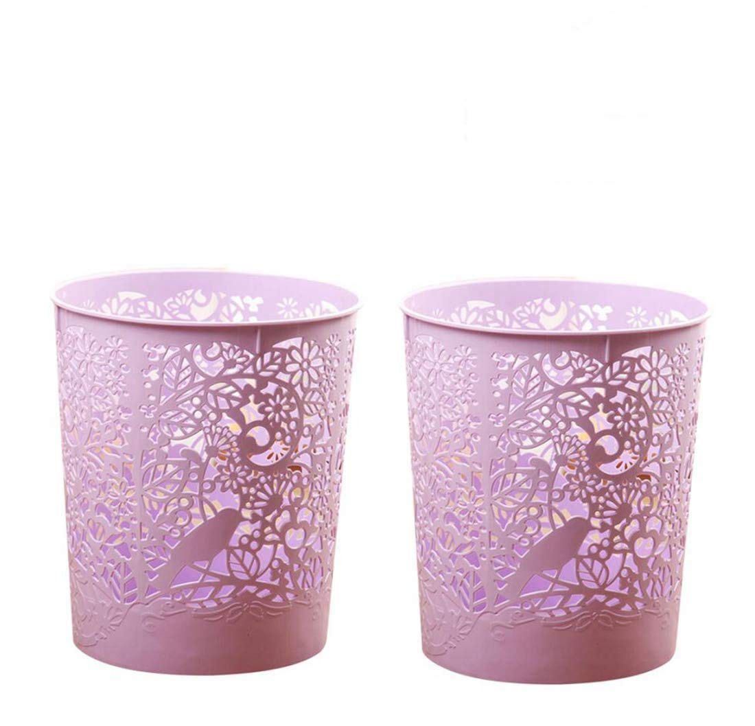 Waste Bins, XSHION 2 Pack Creative Hollowed-out Trash Can Waste Paper Baskets Office Garbage Bins (Light Purple)