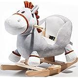 Toddler Indoor Ride On Rocking Donkey chair Toys Kids Rocking Animal, Rocket Bunny