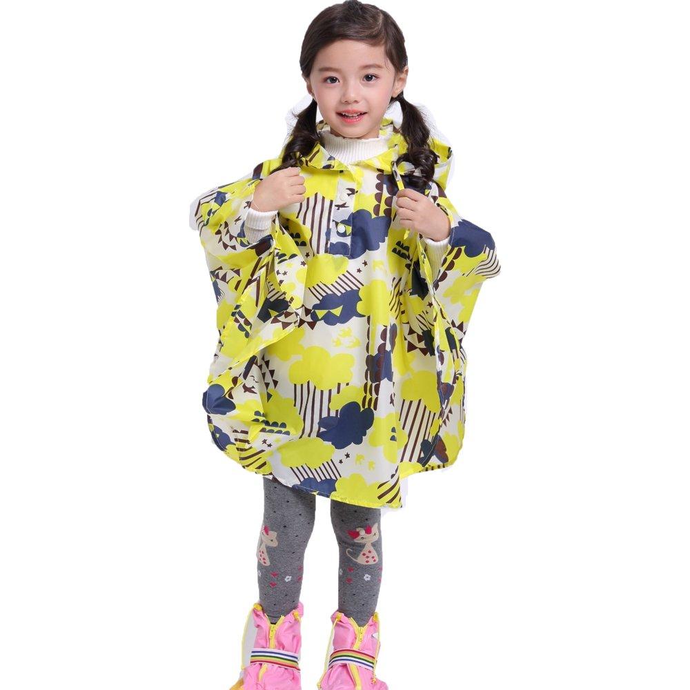 DENTRUN Kid's Raincoat Cute Stylish Pattern Lightweight Waterproof Hooded Rainwear