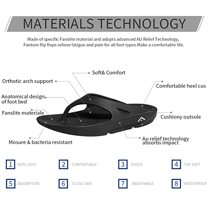 0636dca8df80 Amazon.com  FANTURE Men   Women s Ultra Soft Flip Flops Thong Foot Pain  Relief Arch Support Recovery Slipper and Sandals  Shoes