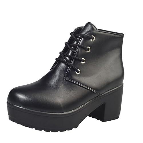 Zapatillas para Mujer,Zapatos de Mujer Moda Botines Planos de Cuero Oxford Zapatos Casuales Botas Cortas: Amazon.es: Zapatos y complementos