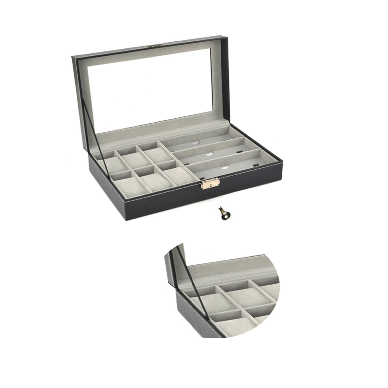 Autoark Leather 6 Watch Box Jewelry Case and 3 Piece Eyeglasses Storage and Sunglass Glasses Display Case Organizer,Black,AW-004 by Autoark (Image #6)