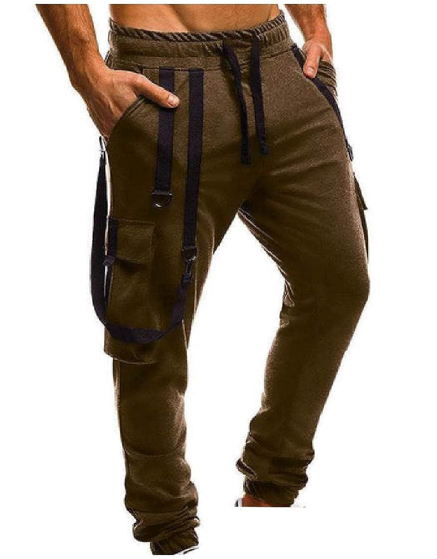 YUNY Mens Pockets Drawstring Waist Autumn Casual Cargo Sport Baggy Pants Khaki 2XL