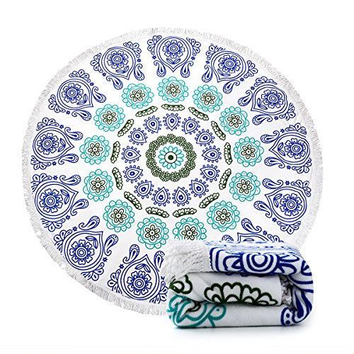 Ricdecor Indian Mandala Microfiber Large Round Beach Blanket with Tassels Ultra Soft Super Water Absorbent Multi-Purpose Towel 59 inch across (NO.3) by Ricdecor