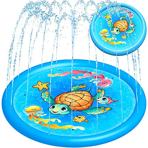 Splash Pad Water Toy Sprinkler Mat Pool for Kids Toddlers 68″ Outdoor Summer Toys Kiddie Baby Swimming Pools – Fun Backyard Trampoline Lawn Games Infant Wading Pool Slide, Water Play for Ages 1 – 12