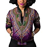 Wancy Women's Long Sleeve Floral African Dashiki Zip Up Biker Bomber Jackets Coat Purple X-Large