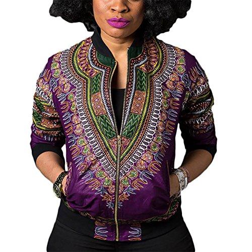 Wancy Women's Long Sleeve Floral African Dashiki Zip Up Biker Bomber Jackets Coat Purple X-Large by Wancy