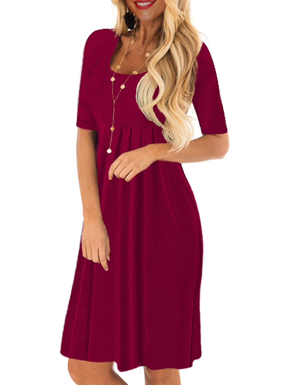 Burgundy Ranphee Womens Half Sleeve Loose Plain Pleated Aline Tunic Tee Shirt Dress