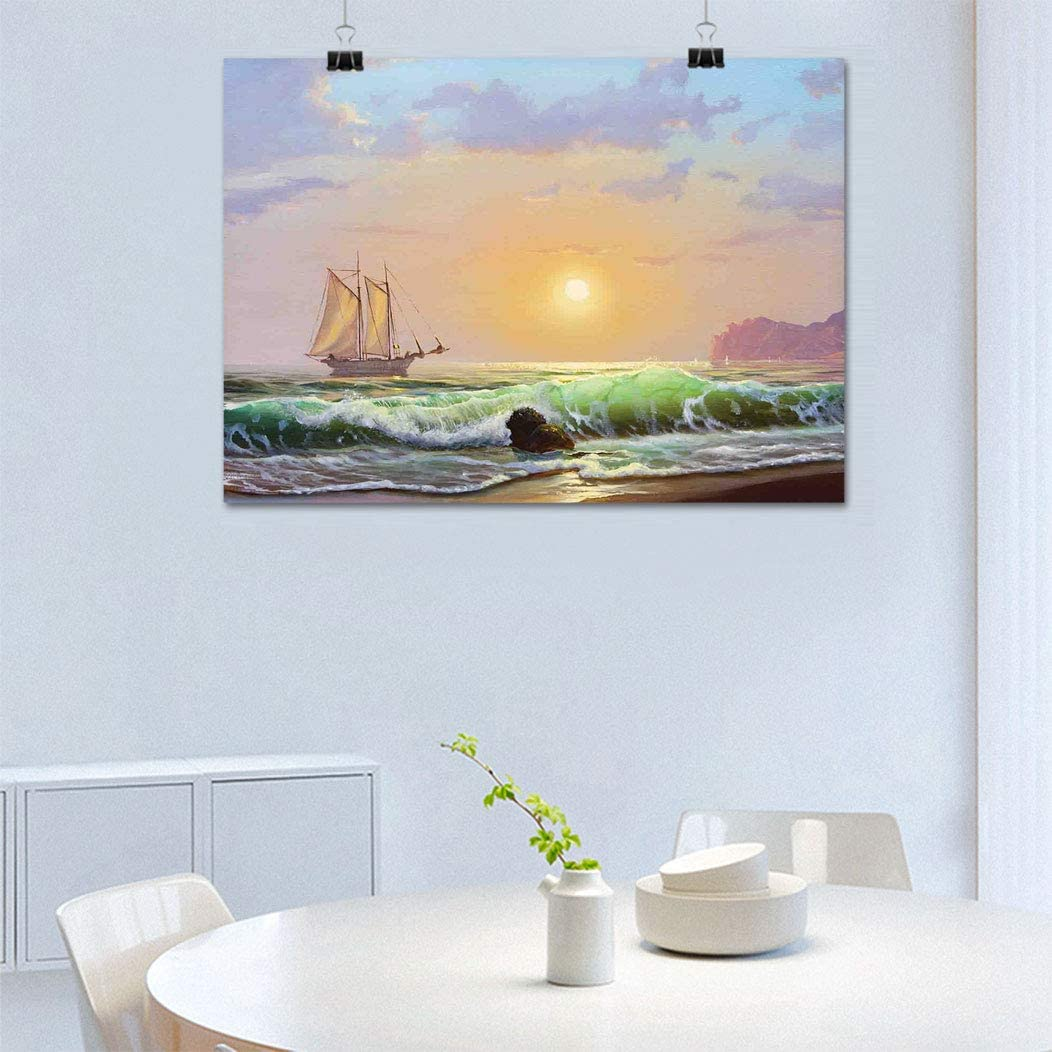 "Marine Print on Canvas Wall Art, Sailboat on The Sea Sunset and Forceful Waves Rocky Shore View Artwork Modern Paintings Walls Decor Ready to Hang, 24"" W x 31"" L Pale Blue Green Peach"
