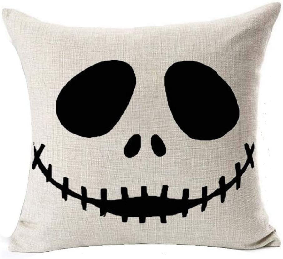 """LYNZYM Nightmare Before Christmas Cotton Linen Square Throw Pillow Case Decorative Cushion Cover Pillowcover for Sofa 18""""X 18"""" Halloween Throw Pillow Covers (1)"""