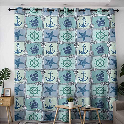 Doorway Curtains,Ship,Nautical Themed Artwork with Marine Rope Starfish Wheel Anchor and Ship Sailors Knot,Energy Efficient, Room Darkening,W84x84L,Multicolor