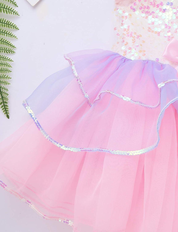 IEFIEL Tutu Enfant Fille Robe de Gymnastique Danse Performance Sequins Bowknot Justaucorps Ballet Fille D/éguisement Princesse Petite Sir/ène Vacances 3-8 Ans