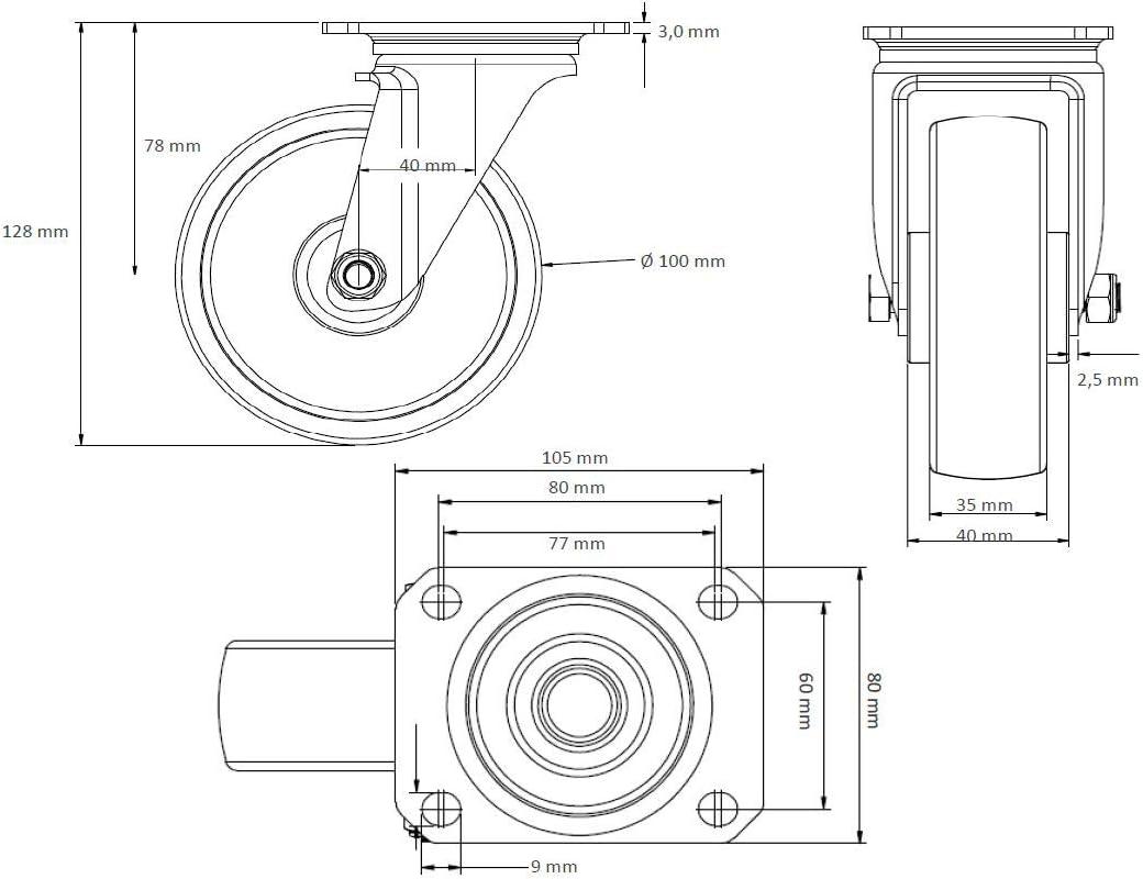 Rollensatz 2 Lenkrollen mit Feststeller 2 Lenkrollen 100 mm Elastik Blue Wheels
