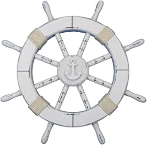 Hampton Nautical Rustic White Decorative Ship Wheel with Anchor 18""