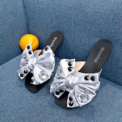 Rhinestone Slides Slip Paresseux Estivales Argent Flats de Plein sur en Femmes JRenok Les Bowknot Mode Ouvert Chaussures air Toe Sandales vqEUn6Ww