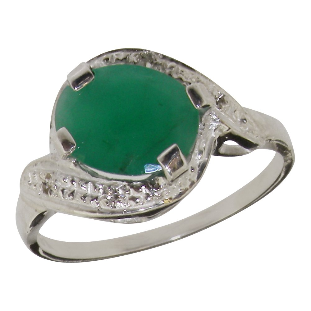 925 Sterling Silver Natural Emerald & Diamond Womens Solitaire Ring (0.04 cttw, H-I Color, I2-I3 Clarity)