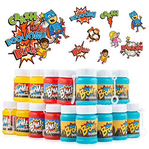 FAVONIR Superhero Bubbles & Tattoos Party Favor Set - 24 x Kids Bubble Bottles 72 Temporary Tattoo Stickers for Kids - Hero Themed Party Favors for Birthday, Classroom Parties & Holiday Goodie Bag fillers.
